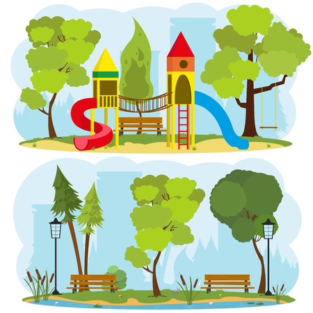 a childrens playground in a city park. 2 isolated images on the theme of outdoor recreation. vector Illustration