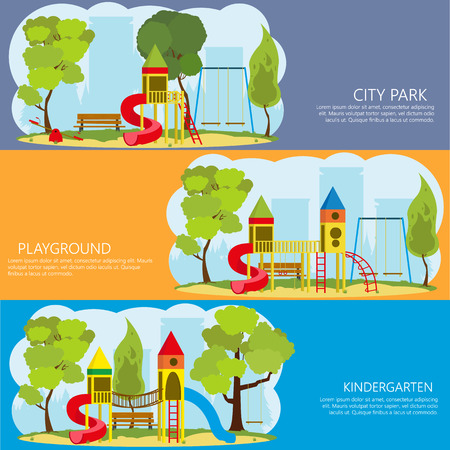jungle gyms: horizontal banners with information about the playground outdoors. vector
