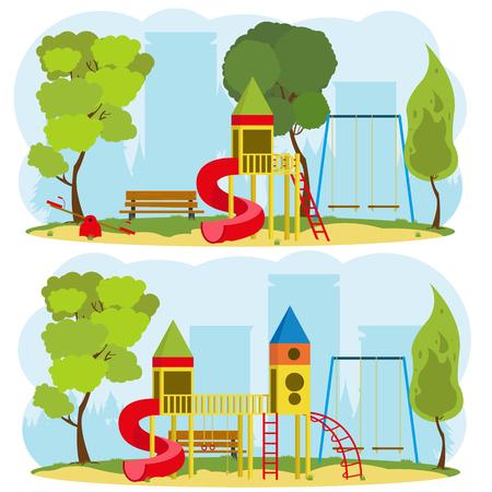 ricreazione: parco giochi per bambini in un parco cittadino. 2 immagini isolate sul tema di attività ricreative all'aperto. vettore