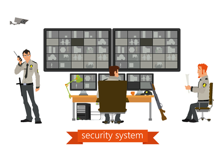 computerized: security room in which working professionals. surveillance cameras. Vector illustration in a flat style.