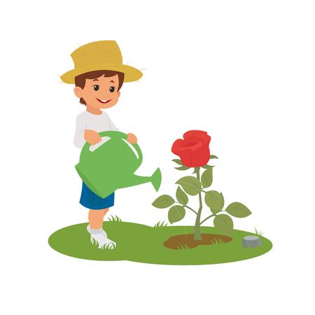 少年は、花に水をまきます。花の託児所。ベクトル  イラスト・ベクター素材