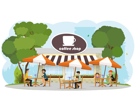 woman drinking coffee: different people relaxing in a cafe in the city park. child eating ice cream. Woman drinking coffee. couple of young people on a date. a man working on a laptop. vector Illustration