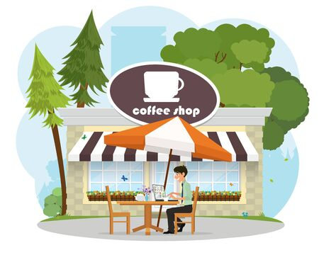 man in a cafe in the park working on a laptop. vector Illustration