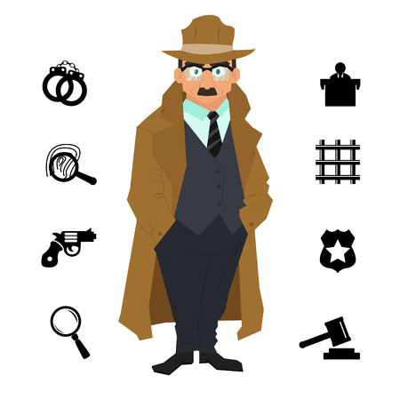 bullet camera: detective character design with equipment. icon set elements. Detective cartoon isolated on a white background. vector