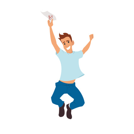 rejoices: boy rejoices shows excellent exam results. student jumping for joy. vector illustration
