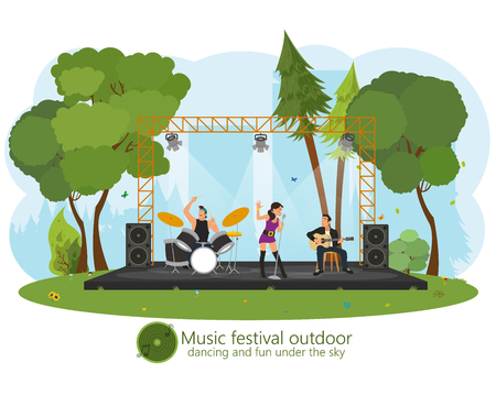 music concert in the park. outdoor music festival. vector