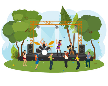 music concert in the park. outdoor music festival. People dancing in the city park at the concert. vector Illustration