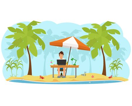 vacation with laptop: freelancer on the beach working on a computer. vector Illustration