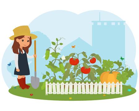 Mädchen auf dem Bauernhof Fürsorge für Gemüse. Vektor
