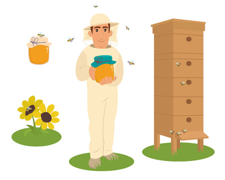 food production: Apiary beekeeper vector illustrations. Apiary  vector symbols. Bee, honey, bee house, honeycomb. Honey natural healthy food production. Man beekeer special costume. Bee, flowers, beehive and wax