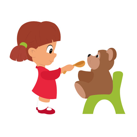 kinder garden: little girl playing with a toy. girl feeding bear. vector