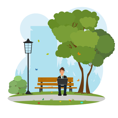 3g: a man sitting in the park and works on laptop. student in the park with a laptop. vector Illustration