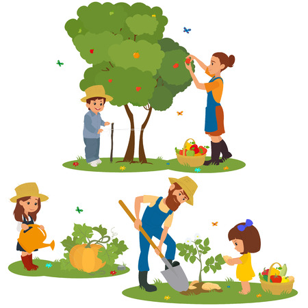 happy farmer: people harvest fruits and vegetables. family farm harvests and caring for plants. vector Illustration