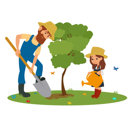 planting tree: Dad and daughter planting tree outdoors. vector.