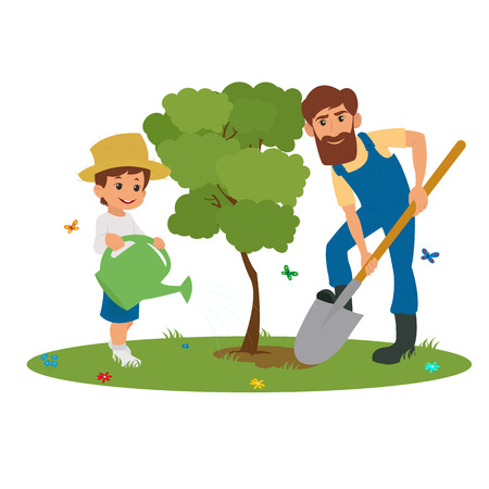 Dad and son planting trees. man and boy planting trees. vector