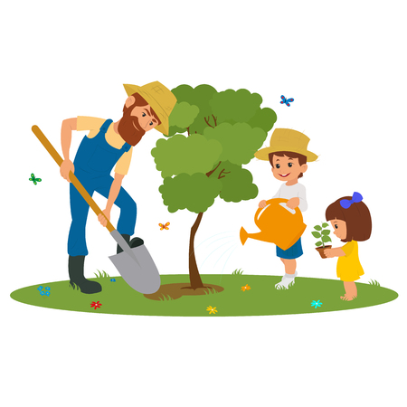 family gardening: man and the children plant trees in the park. vector