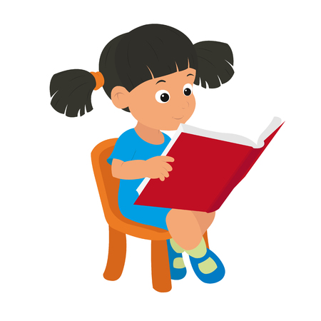 intelligently: girl reading a book. vector Illustration