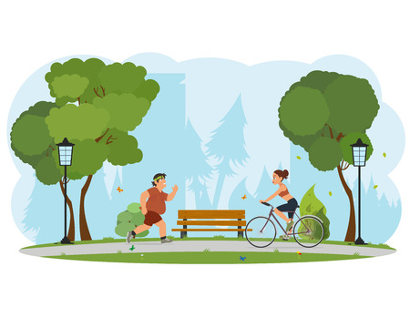 people engaged in sports city park. obese man running, girl riding a bicycle. vector