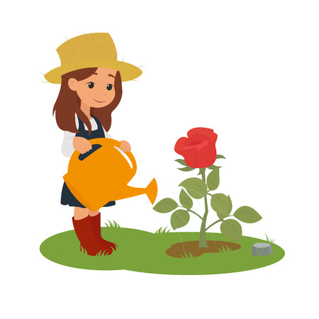 girl watering flowers. Girl watering a beautiful flower on the flowerbed. vector
