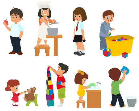help: children help their parents with household chores. children prepare food, eat and play with toys. vector