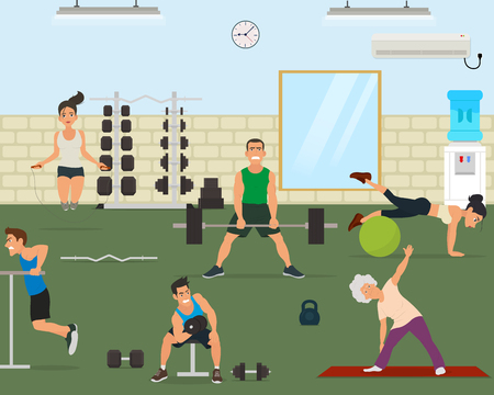 gym equipment: empty gym with exercise equipment. Training people in gym. Vector illustration Illustration