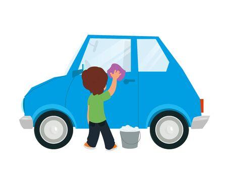 tweens: boy washing car vector illustration isolated on white background.