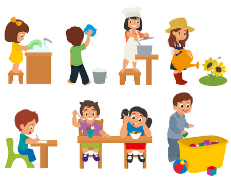 chores: children help their parents with household chores. children doing homework. vector. boy and girl eat. Illustration