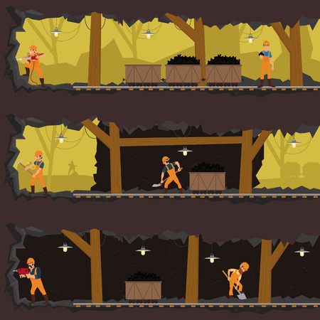 workers working in the mine at different levels. miners are mining in the mine in different tunnels. men extract coal in the mine. vector Ilustração