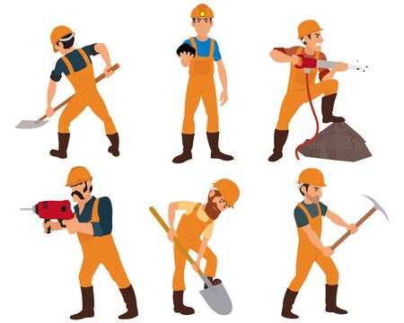 six miner isolated on white background. instruments miners mined in the ore mine. vector