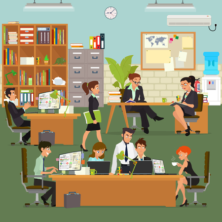 person computer: scenes of people working in the office. Vector illustration in a flat style.