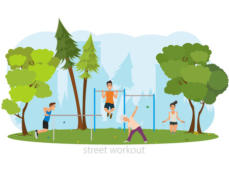 calisthenics: People involved in sports outdoors. vector