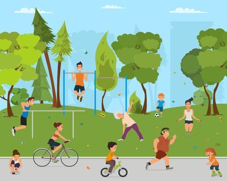 People relaxing in a city park. children and adults involved in sports outdoors. vector