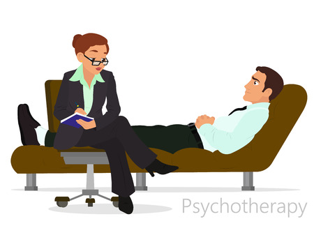 Patient talking to psychologist. Psychotherapy counseling. vector  イラスト・ベクター素材