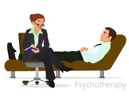 Patiënt praten psycholoog. Psychotherapie counseling. vector Stockfoto - 62620572
