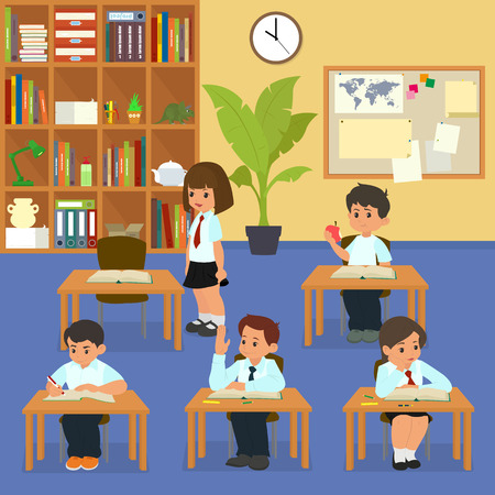 School lesson. School children in classroom at lesson. cartoon vector illustration.