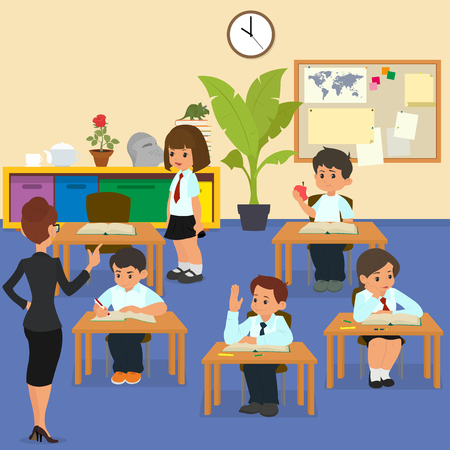 lesson: School lesson. School children in classroom at lesson. teacher conducts lessons in school. cartoon vector illustration.