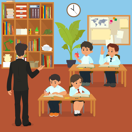 School lesson. School children in classroom at lesson. teacher conducts lessons in school. cartoon vector illustration.