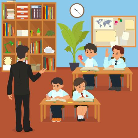 Schulstunde. Schulkinder im Klassenzimmer an der Lektion. Lehrer führt Lektionen in der Schule. Cartoon-Vektor-Illustration.