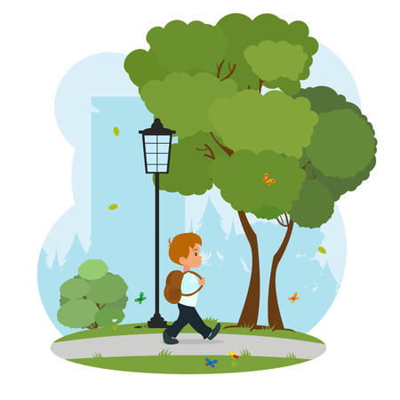 goes: the schoolboy with a backpack goes to school through the park. boy goes to school with a backpack. vector
