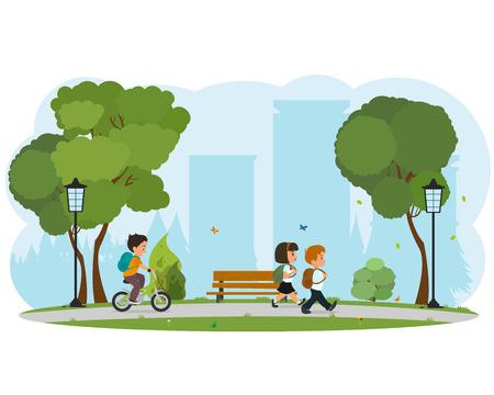 schoolchildren: happy Little kids going to school. group of schoolchildren with backpacks going to school. vector Illustration