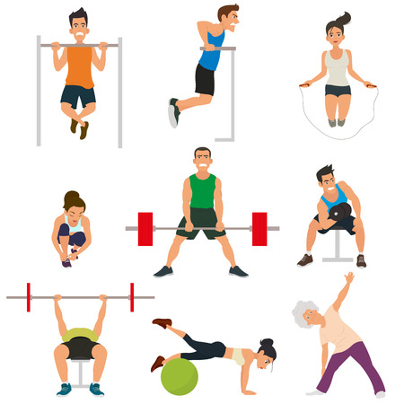 simulators: sports people in the flat style. People involved in sports with dumbbells, barbells and on simulators. vector.