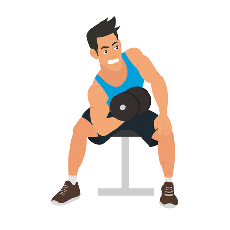 lifter: strong man doing exercise for biceps. vector