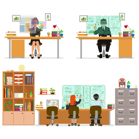 virtual office: isolated icon of people working on the computer. people work in different places. New virtual technologies. modern virtual office jobs. vector