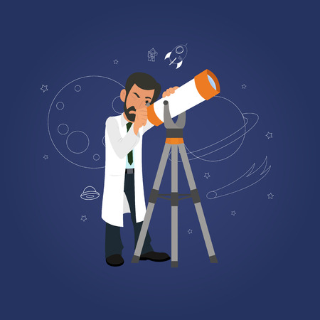 Astronomy concept. scientist looking through a telescope at the stars. vector