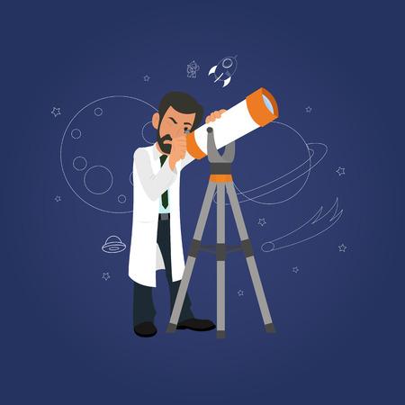 concepto de la Astronomía. científico mirando por el telescopio a las estrellas. vector Ilustración de vector