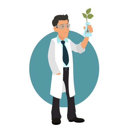 biologist working with plant shoots. Researcher studying a plant. vector