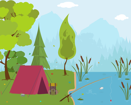hiking trail: tourist tent in forest camp. vector