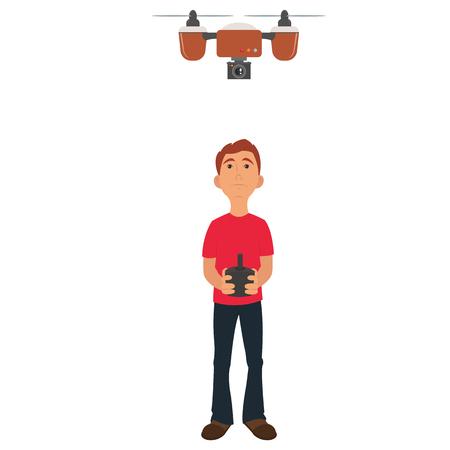 guy runs a flying drone. vector