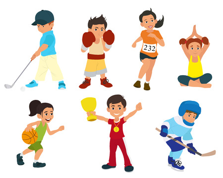 actively: sports kids are actively involved in sports. vector