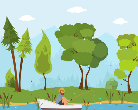 man fishes in a boat on the river. vector